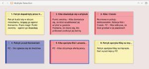 Lista scen z zaznaczeniem punktów zwrotnych w programie Scrivener