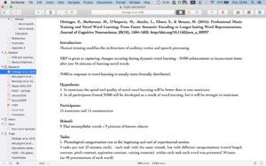 Screenshot notatek w programie Scrivener